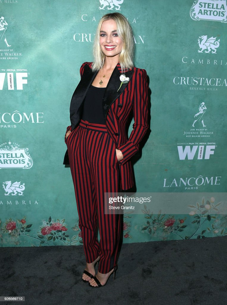 Margot Robbie arrives at the 11th Annual Celebration Of The 2018 Female Oscar Nominees Presented By Women In Film at Crustacean on March 2, 2018 in Beverly Hills, California.