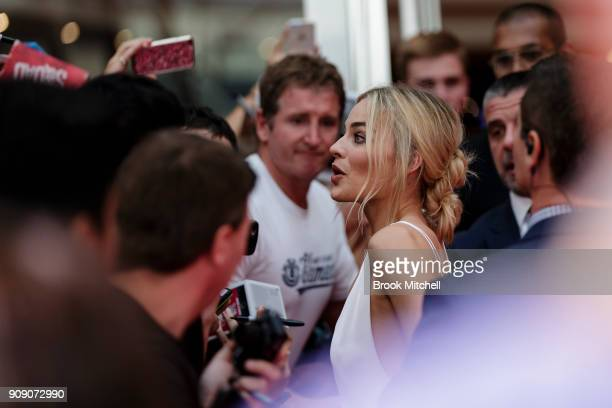 Margot Robbie arrives at the Australian Premiere of 'I Tonya' on January 23 2018 in Sydney Australia