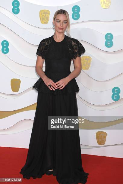 Margot Robbie arrives at the EE British Academy Film Awards 2020 at Royal Albert Hall on February 2, 2020 in London, England.