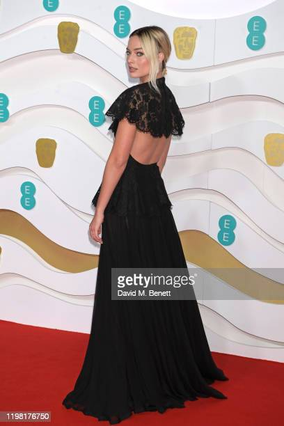 Margot Robbie arrives at the EE British Academy Film Awards 2020 at Royal Albert Hall on February 2 2020 in London England