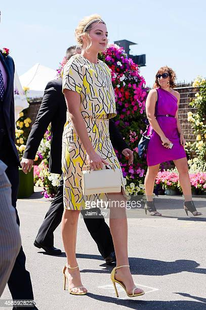 Margot Robbie arrives at the Swisse Marquee on Stakes Day at Flemington Racecourse on November 8 2014 in Melbourne Australia