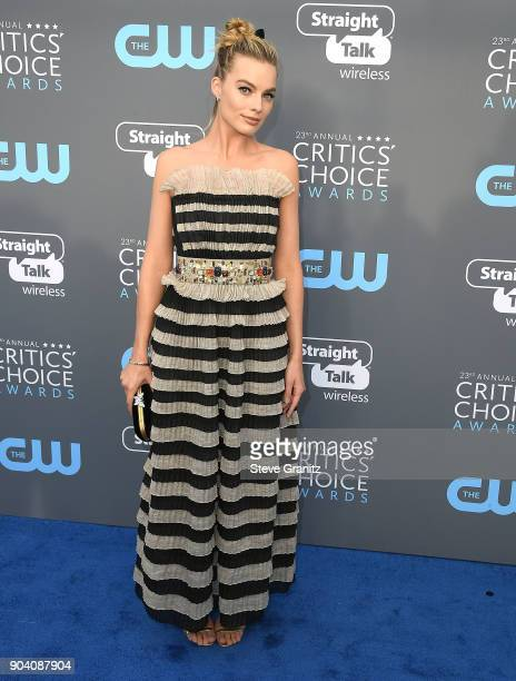 Margot Robbie arrives at the The 23rd Annual Critics' Choice Awards at Barker Hangar on January 11 2018 in Santa Monica California