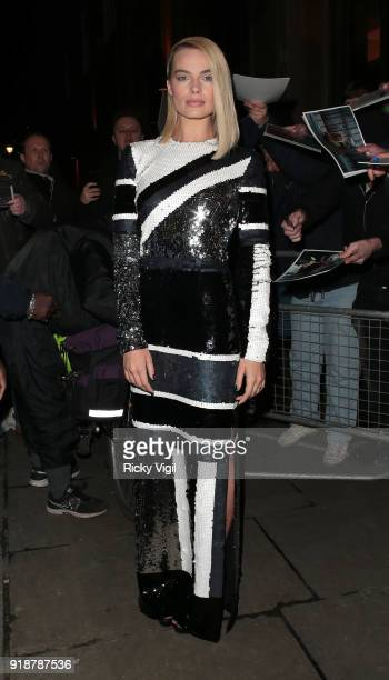 Margot Robbie arriving at the 'I Tonya' photocall at The Washington Mayfair hotel on February 15 2018 in London England