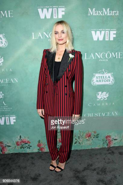Margot Robbie attends the 11th annual celebration of the 2018 female Oscar nominees presented by Women in Film at Crustacean on March 2 2018 in...