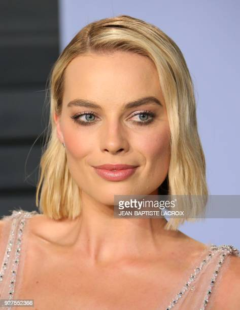 Margot Robbie attends the 2018 Vanity Fair Oscar Party following the 90th Academy Awards at The Wallis Annenberg Center for the Performing Arts in...