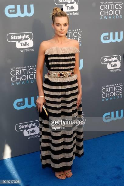 Margot Robbie attends the 23rd Annual Critics' Choice Awards at Barker Hangar on January 11 2018 in Santa Monica California