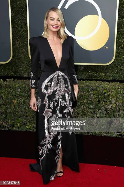 Margot Robbie attends The 75th Annual Golden Globe Awards at The Beverly Hilton Hotel on January 7, 2018 in Beverly Hills, California.