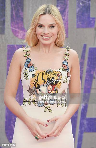 """Margot Robbie attends the European Premiere of """"Suicide Squad"""" at Odeon Leicester Square on August 3, 2016 in London, England."""