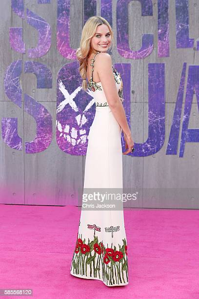"""Margot Robbie attends the European Premiere of """"Suicide Squad"""" at the Odeon Leicester Square on August 3, 2016 in London, England."""