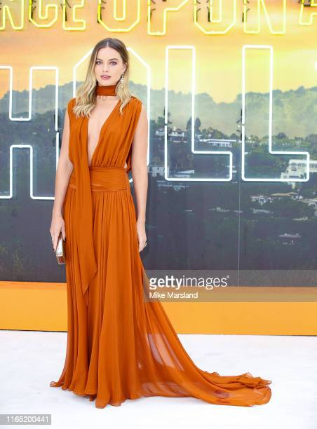 "Margot Robbie attends the ""Once Upon A Time In Hollywood"" UK Premiere at Odeon Luxe Leicester Square on July 30, 2019 in London, England."