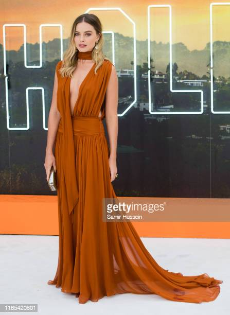 "Margot Robbie attends the ""Once Upon a Time... In Hollywood"" UK Premiere at Odeon Luxe Leicester Square on July 30, 2019 in London, England."