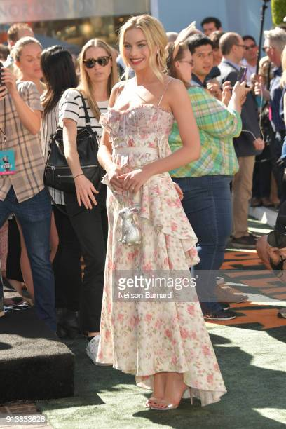 Margot Robbie attends the premiere of Columbia Pictures' 'Peter Rabbit' at The Grove on February 3 2018 in Los Angeles California
