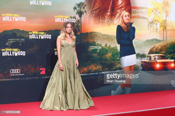 """Margot Robbie attends the premiere of """"Once Upon A Time... In Hollywood"""" at CineStar on August 01, 2019 in Berlin, Germany."""