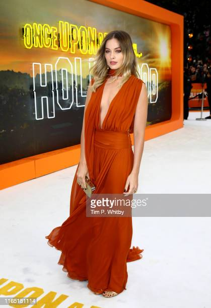 Margot Robbie attends the UK Premiere of Once Upon A Time...In Hollywood at Odeon Luxe Leicester Square on July 30, 2019 in London, England.
