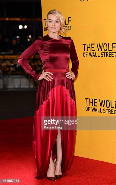 Margot Robbie attends the UK Premiere of 'The Wolf Of Wall Street' at the Odeon Leicester Square on January 9 2014 in London England