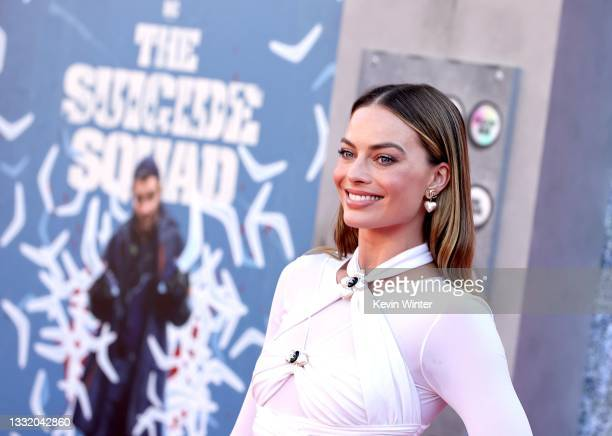 """Margot Robbie attends the Warner Bros. Premiere of """"The Suicide Squad"""" at Regency Village Theatre on August 02, 2021 in Los Angeles, California."""