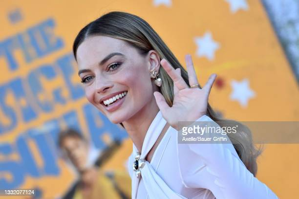 """Margot Robbie attends Warner Bros. Premiere of """"The Suicide Squad"""" at The Landmark Westwood on August 02, 2021 in Los Angeles, California."""