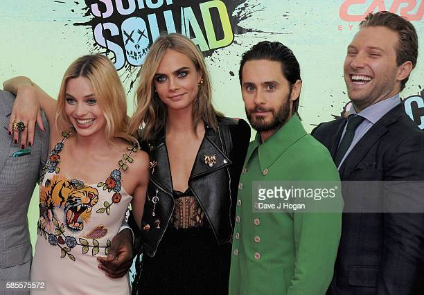 """Margot Robbie, Cara Delevingne, Jared Leto and Jai Courtney attend the European Premiere of """"Suicide Squad"""" at Odeon Leicester Square on August 3,..."""