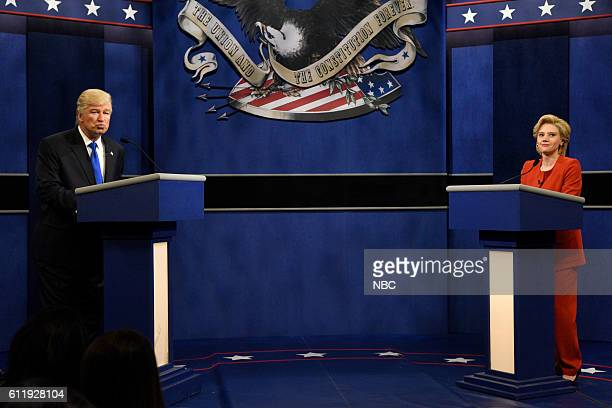 LIVE 'Margot Robbie' Episode 1705 Pictured Alec Baldwin as Republican Presidential Candidate Donald Trump and Kate McKinnon as Democratic...