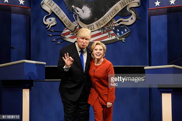 """Margot Robbie"""" Episode 1705 -- Pictured: Alec Baldwin as Republican Presidential Candidate Donald Trump and Kate McKinnon as Democratic Presidential..."""