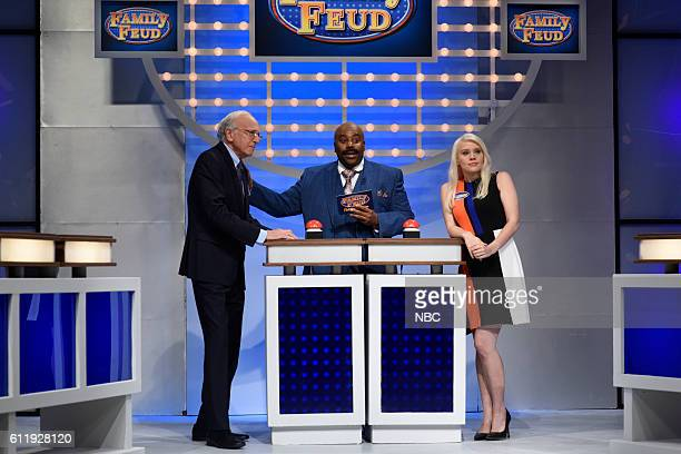 LIVE Margot Robbie Episode 1705 Pictured Larry David as Bernie Sanders Kenan Thompson as Steve Harvey and Kate McKinnon as Kellyanne Conway during...