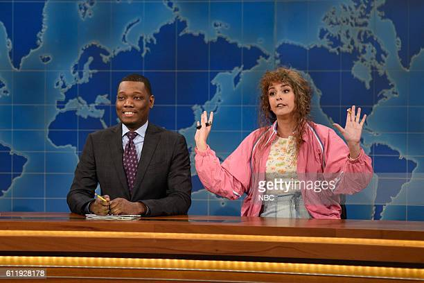 LIVE 'Margot Robbie' Episode 1705 Pictured Michael Che and Cecily Strong as Cathy Ann during Weekend Update on October 1 2016