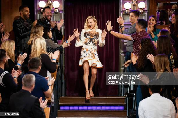 Margot Robbie greets the audience during 'The Late Late Show with James Corden' Monday February 5 2018 On The CBS Television Network