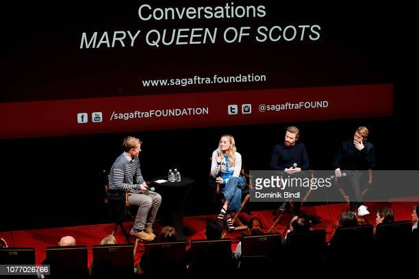 Margot Robbie Jack Lowden and Joe Alywn attend the SAGAFTRA Foundation Conversations 'Mary Queen Of Scots' at The Robin Williams Center on December...