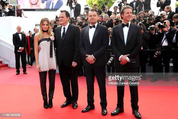Margot Robbie Quentin Tarantino Leonardo DiCaprio and Brad Pitt attend the screening of Once Upon A Time In Hollywood during the 72nd annual Cannes...
