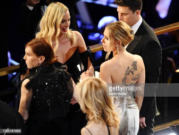 Margot Robbie Scarlett Johansson and Colin Jost attend the 92nd Annual Academy Awards at Dolby Theatre on February 09 2020 in Hollywood California