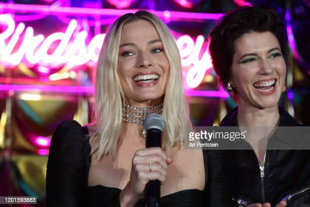 Margot Robbie speaks on stage at Birds Of Prey A Night Of Music And Mayhem In HARLEYWOODat DREAM Hollywood on January 23 2020 in Hollywood California