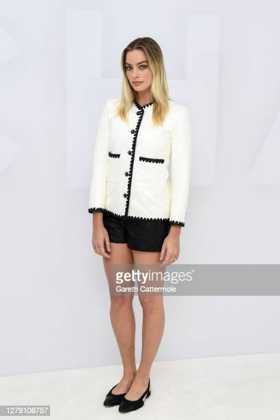 Margot Robbie virtually attends the Chanel Womenswear Spring Summer 2021 held at the Grand Palais on October 06, 2020 in Paris, France.