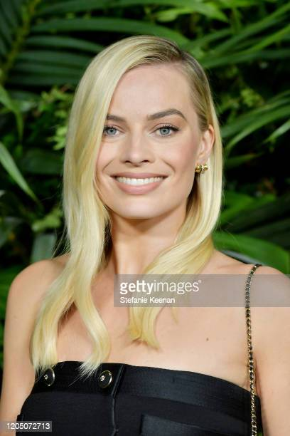 Margot Robbie wearing CHANEL attends CHANEL and Charles Finch PreOscar Awards Dinner at Polo Lounge at The Beverly Hills Hotel on February 08 2020 in...