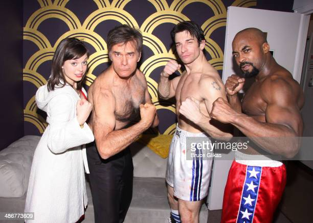 Margot Seibert as Adrian Dr Mehmet Oz Andy Karl as Rocky Balboa and Terence Archie as Apollo Creed pose backstage at the hit musical Rocky on...