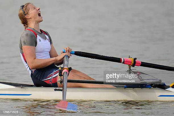 Margot Shumway of the USA celebrates after winning the Women's Single Sculls Rowing Finals during Day Three of the XVI Pan American Games at the...