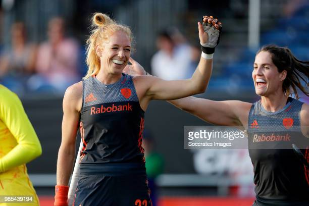 Margot van Geffen of Holland Women celebrates 10 during the Rabobank 4Nations trophy match between Holland v China at the Hockeyclub Breda on June 27...