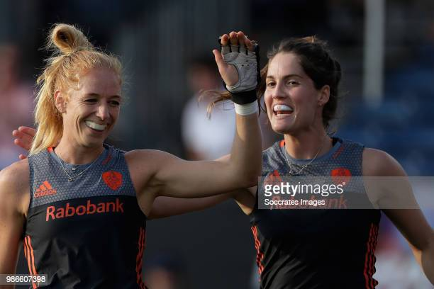 Margot van Geffen of Holland Women Marloes Keetels of Holland Women during the Rabobank 4Nations trophy match between Holland v China at the...