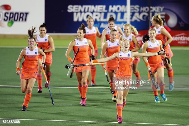 Margot van Geffen of the Netherlands celebrates after winning the Hockey World League final between New Zealand and Netherlands at Rosedale Park on...