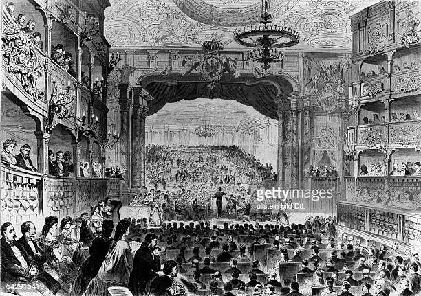 Margravial Opera House in Bayreuth Wood engravings from the 19th century Inauguration of the Wagner Opera House in Bayreuth the conductor of the...