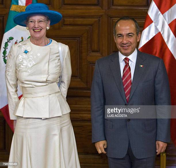 Margrethe II Queen of Denmark and Mexican President Felipe Calderon smile during a meeting at the National Palace in Mexico City on February 18 2008...