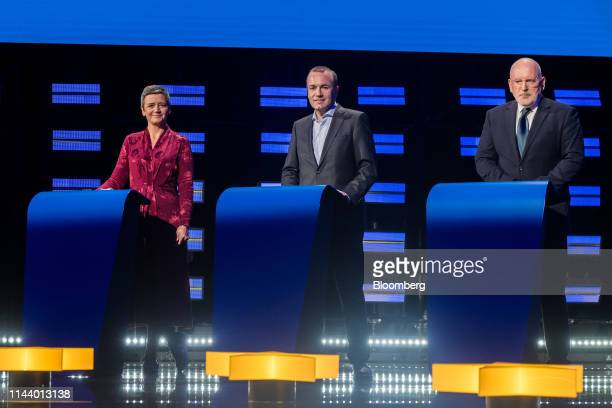 Margrethe Vestager colead candidate of the Alliance of Liberals and Democrats for Europe from left Manfred Weber lead candidate of the European...
