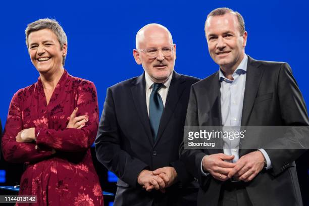 Margrethe Vestager colead candidate of the Alliance of Liberals and Democrats for Europe from left Frans Timmermans lead candidate of the Party of...