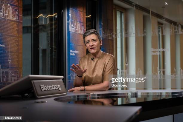 Margrethe Vestager competition commissioner of the European Commission gestures while speaking during a Bloomberg Television interview in Berlin...