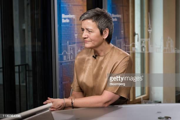 Margrethe Vestager competition commissioner of the European Commission pauses during a Bloomberg Television interview in Berlin Germany on Thursday...