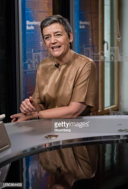 Margrethe Vestager competition commissioner of the European Commission speaks during a Bloomberg Television interview in Berlin Germany on Thursday...