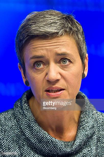 Margrethe Vestager Denmark's economy minister speaks at a news conference following a European Union finance ministers meeting at the European...