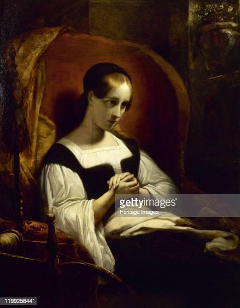 Marguerite au rouet , c. 1831. Found in the Collection of Musée de la Vie romantique, Paris. Artist Scheffer, Ary .