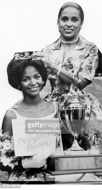 Marguerite Belafonte crowning a beauty pageant winner 1965