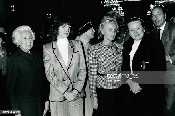 Marguerite Chodron de Courcel , Claude Chirac, Bernadette Chirac ,a friend and Jacques Chirac attend the 10th Anniversary of the Election of Jacques...
