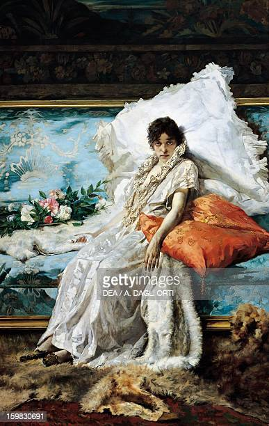 Marguerite Gautier character from the novel The Lady of the Camellias by Alexandre Dumas ca 1890 by Eugene Scomparini oil on canvas 246x160 cm...